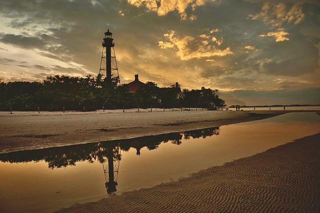 Sanibel Island lighthouse sunset