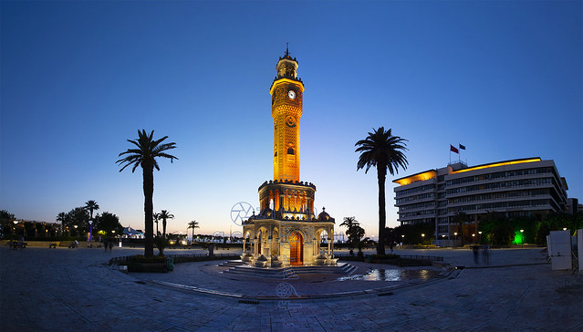 The blue hour long exposure of the Izmir Clock Tower, which is located in Konak Square and is the symbol of Izmir...