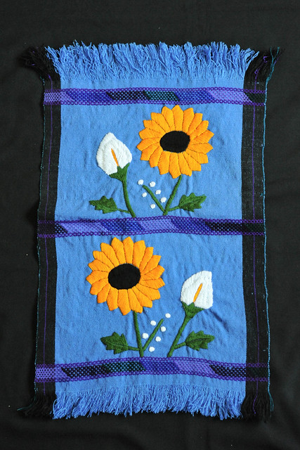 Maya Weaving Embroidery Flowers Mexico Chiapas