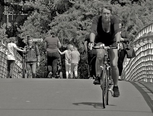 People on the bridge at Lancaster