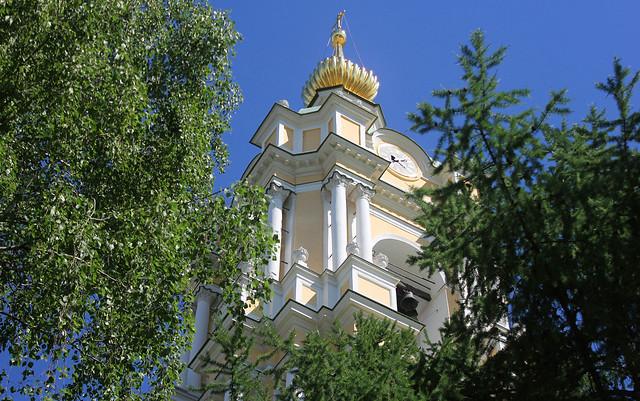 Russian Federation, Holy Moscow, the Bell Tower of Novospassky Monastery, Krestyanskaya Square, Tagansky district. Православнаѧ Црковь.
