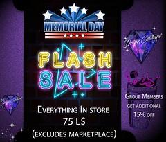 Memorial Day 75 L$ Flash Sale @ Dripz Couture