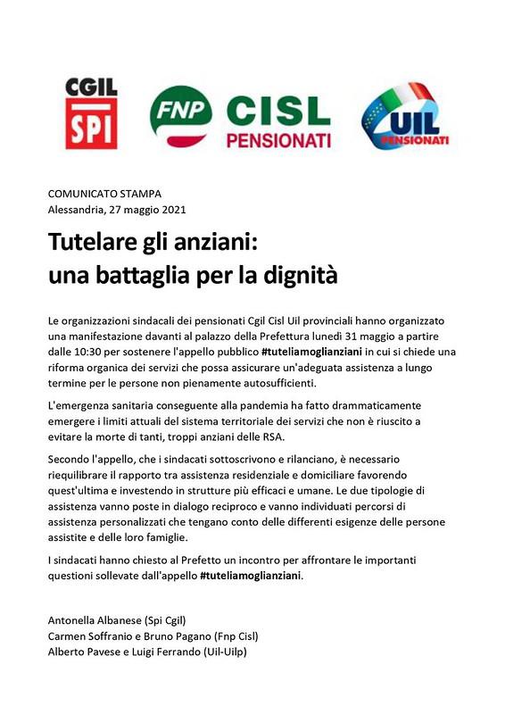 #tuteliamoglianziani : presidio 31 maggio 2021 in Alessandria