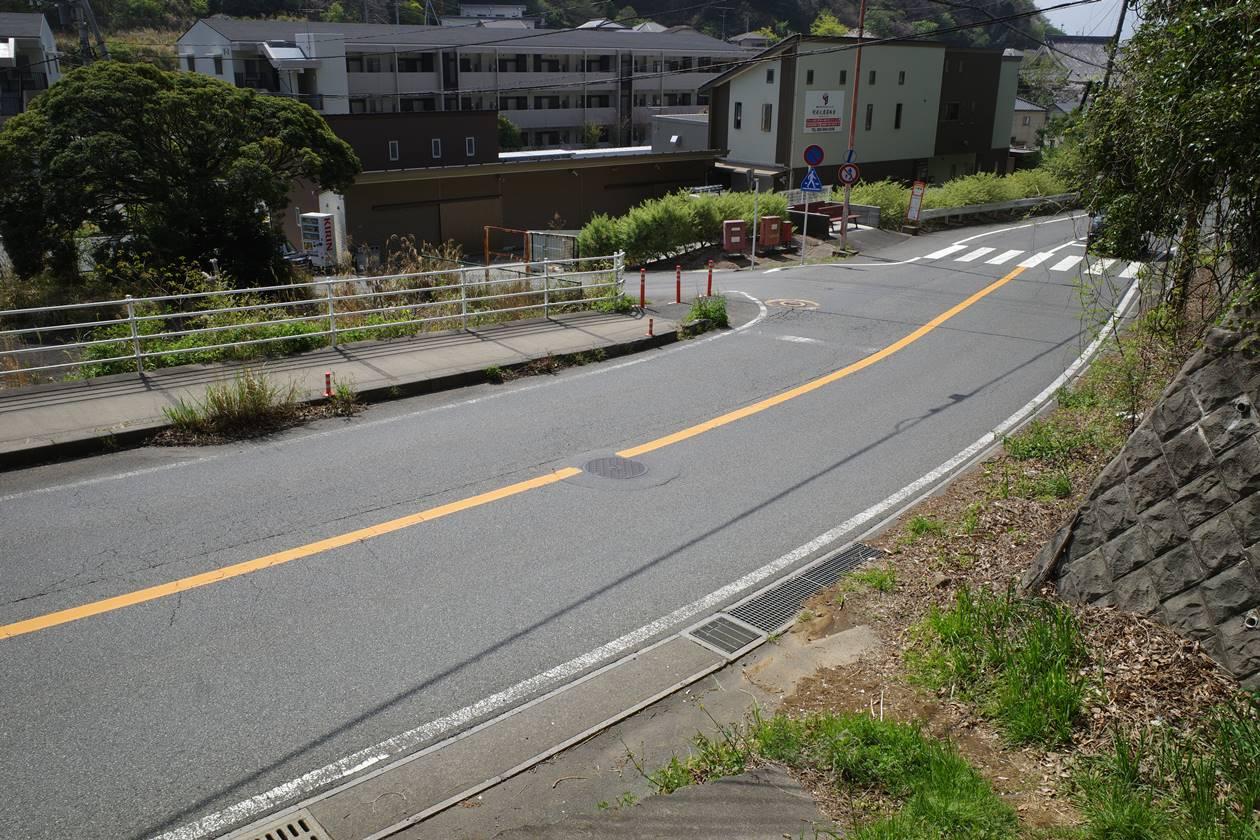 香貫山から道路へ下山
