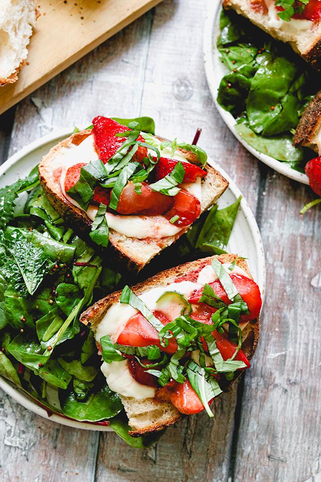 Balsamic Roasted Strawberry, Basil, and Mozzarella Caprese Toasts