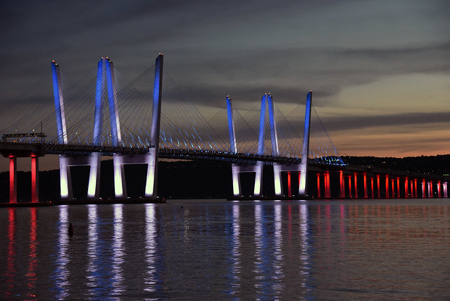 Picture Of The Mario M Cuomo Bridge Located In Tarrytown NY Connecting Westchester County With Rockland County In New York State Lit Up In Red White And Blue For Memorial Day 2021. Photo Taken Monday May 31, 2021