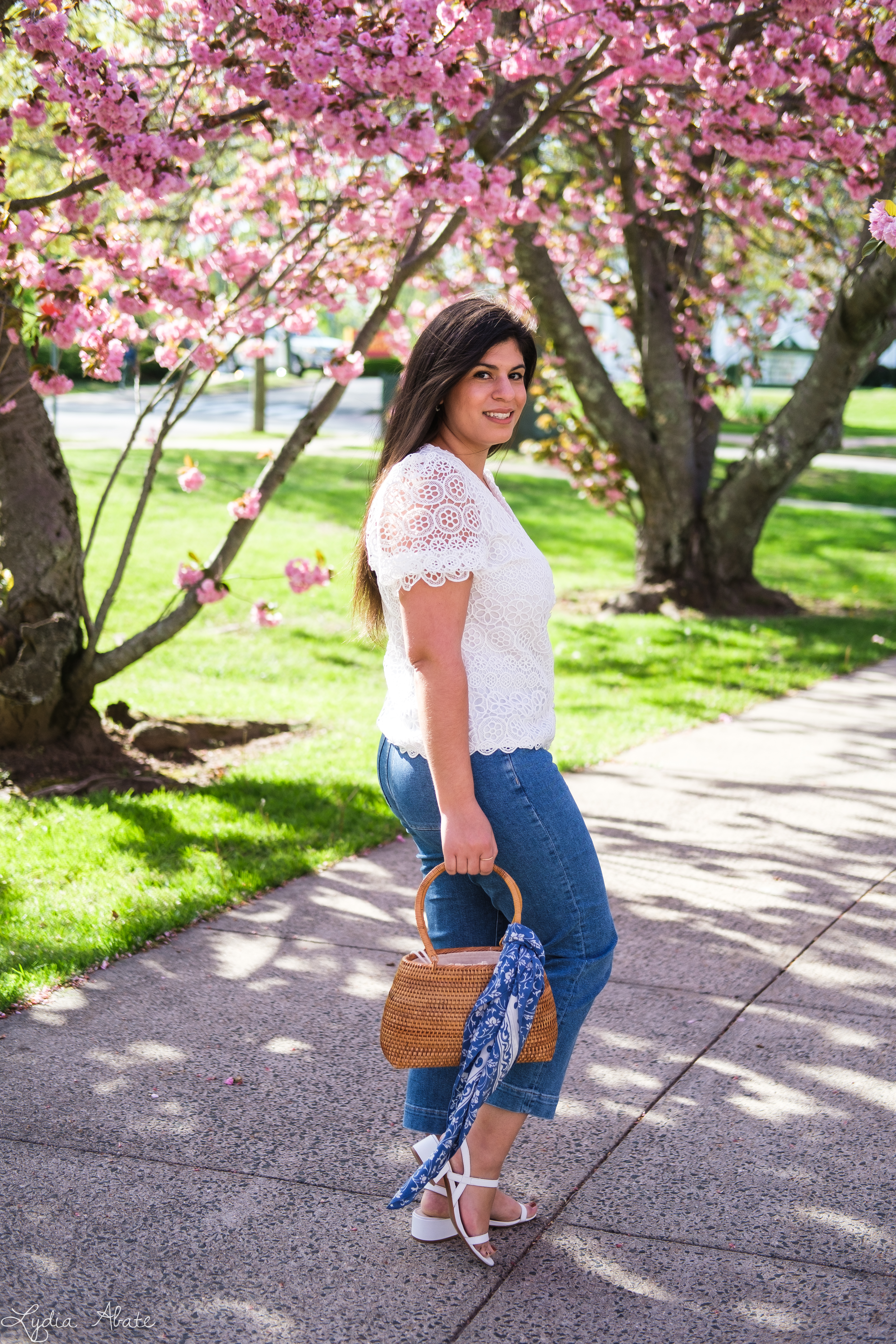 lace puff sleeve blouse, cropped jeans, basket bag-6.jpg