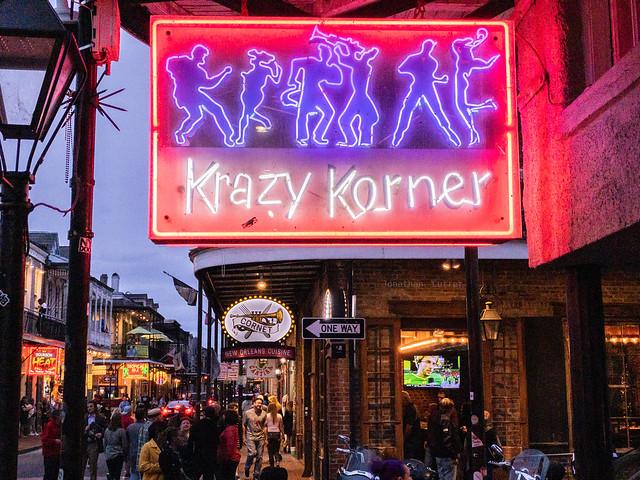 Krazy Korner neon sign on Bourbon Street
