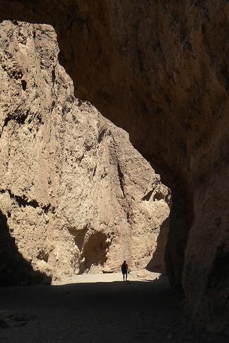 An opening into a slot canyon landform