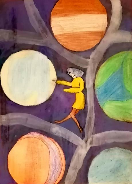 086 - La Scomparsa di Samanta 12 anni   I pianeti in questo incantevole elaborato diventano dei frutti giganti come se volesse farci capire che i pianeti sono nutrimento per l'anima e il futuro.
