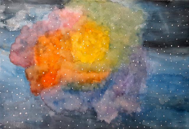 152 - Galassia di Maria Laura 12 anni  Bellissimo uso del colore in trasparenza, interessante elaborazione che diventa quasi un quadro astratto.
