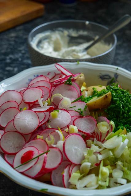 Salade de pommes de terre nouvelles et radis  sauce  au raifort_