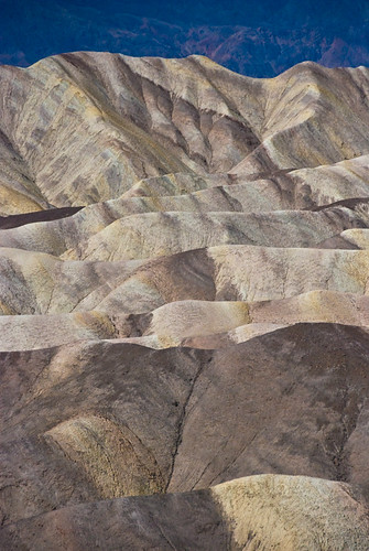 Death Valley's landforms that have been eroded by wind and flash floods