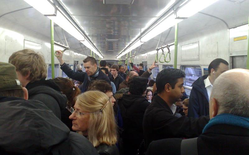 Crowded Hitachi train, May 2011