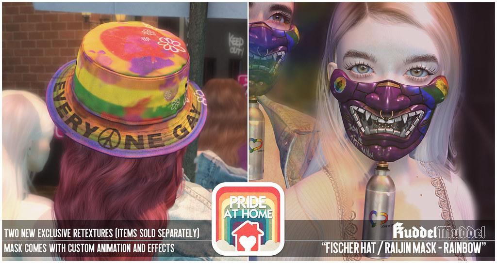 [KuddelMuddel] Fischer Hat / Raijin Mask – Rainbow Special Editions x SL Pride At Home (Jun 1-30) @ Mainstore