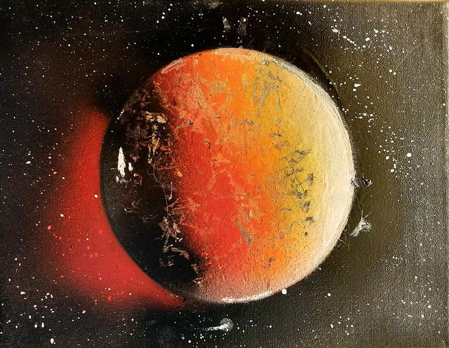 093 - Il pianeta infuocato di Gabriele 14 anni  Per la gestione cromatica di impatto e l'eccellente esecuzione in tecnica mista.