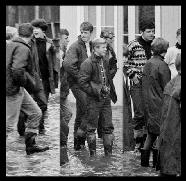 Flood in Innbygda, Trysil, Norway, in the spring of 1967