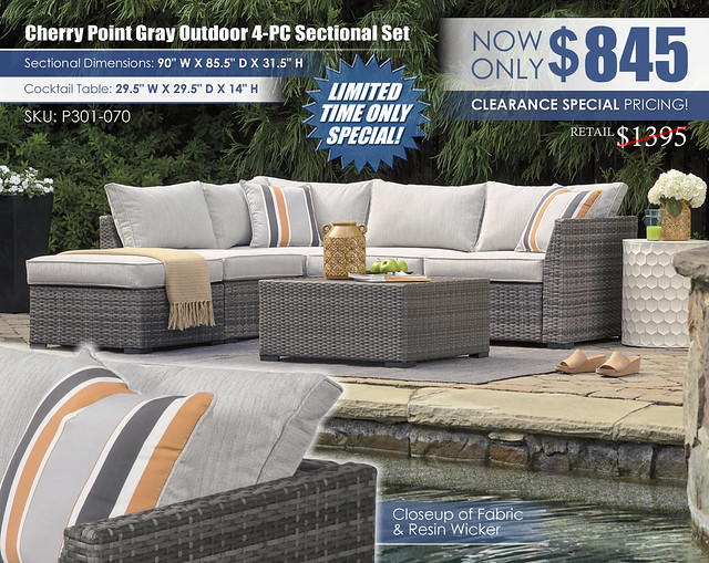 Cherry Point Gray Outdoor Sectional_P301-070