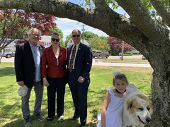 I was honored to attend moving ceremonies in Montville and Waterford to honor those who made the ultimate sacrifice for our nation.   With Senator Formica and Rep. Mike France, my (Rep. McCarty's) granddaughter Adelle and Buckley the French Pyrénées dog at the Montville Memorial service.