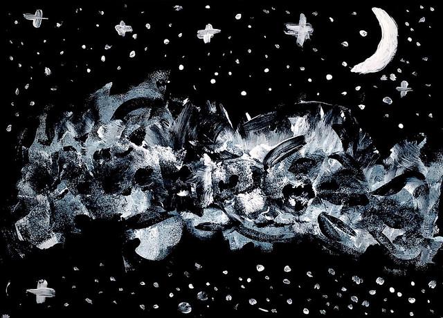 026 - Nuvole stellate - Elena - 6 anni Ci incanta con le sue nuvole, facendoci però vedere anche le stelle che illuminano le nostre notti nonostante il buio dell'universo con magnifici bagliori di luce bianca. Molto bella la resa delle pennellate e l'uso del colore non convenzionale.