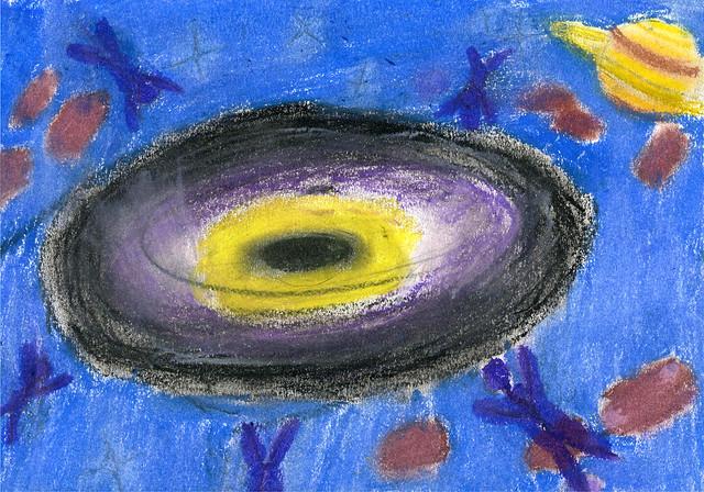 138 - Buco nero di Tommaso 14 anni  Per essersi cimentato con un argomento complesso, i buchi neri, rendendo in maniera visiva l'attrazione gravitazionale esercitata da questi corpi sui loro dintorni.