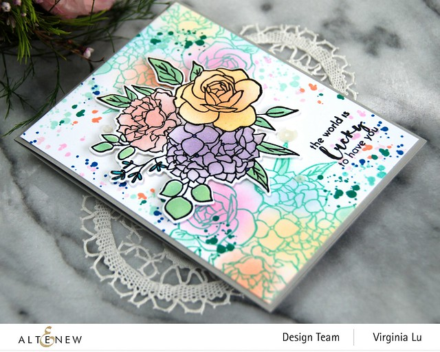 Altenew-Inky Bouquet Stamp Set-Inky Bouquet Die-Inky Bouquet Simple Coloring Stencil-003
