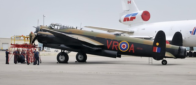 Engine maintenance - Avro/Victory Lancaster Mk. X heavy bomber, 1945 - Mount Hope, Ontario.