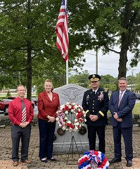I was honored to attend moving ceremonies in Montville and Waterford to honor those who made the ultimate sacrifice for our nation.   At Waterford's Memorial Day service with Town Clerk Dave Campo, left, retired Brigadier General Ron Welch and First Selectman Rob Brule.