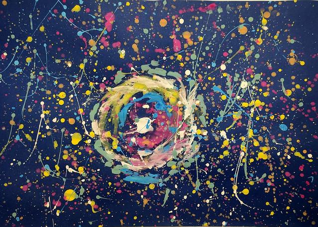 008 - L_Universo Infinito di Giuseppe 10 anni  Ottima padronanza del dripping su fondo scuro, grande potenza evocativa dell'immagine che va oltre la semplice illustrazione.