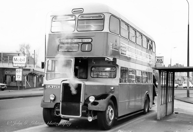 On its first trip after return to service following cannibalisation, Southend Transport Leyland Titan PD3/6 / Massey 341, CJN 441C with boiling radiator due to defective radiator drain plug, at EN Hadleigh depot for water