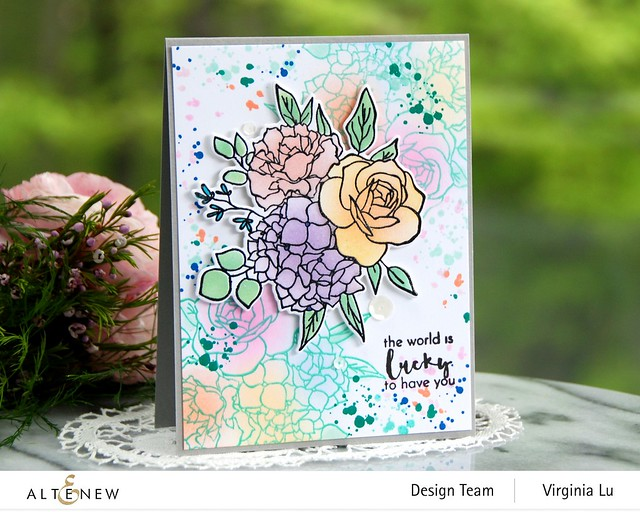 Altenew-Inky Bouquet Stamp Set-Inky Bouquet Die-Inky Bouquet Simple Coloring Stencil-001