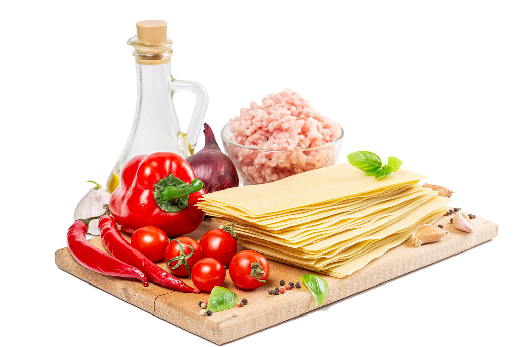 Ingredients for making homemade lasagna
