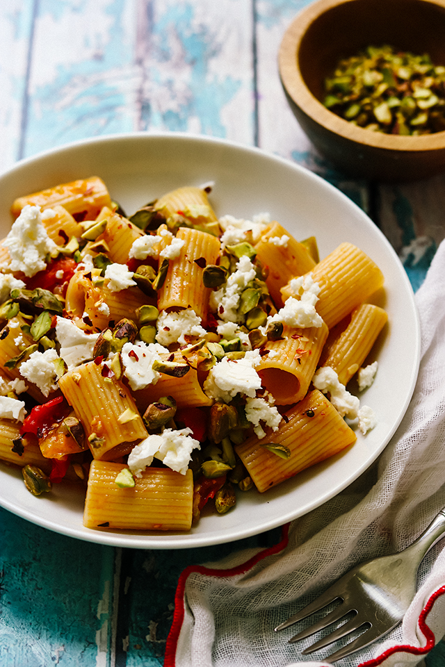 Pasta with Zucchini, Tomatoes, Pistachios, and Feta