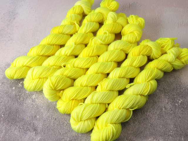 """Misfit skeins: see description – Favourite Sock Minis – Merino wool superwash 4 ply / fingering 20g – 'Health and Safety Gone Mad"""""""