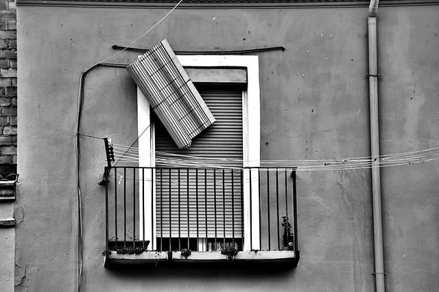 A broken shutter