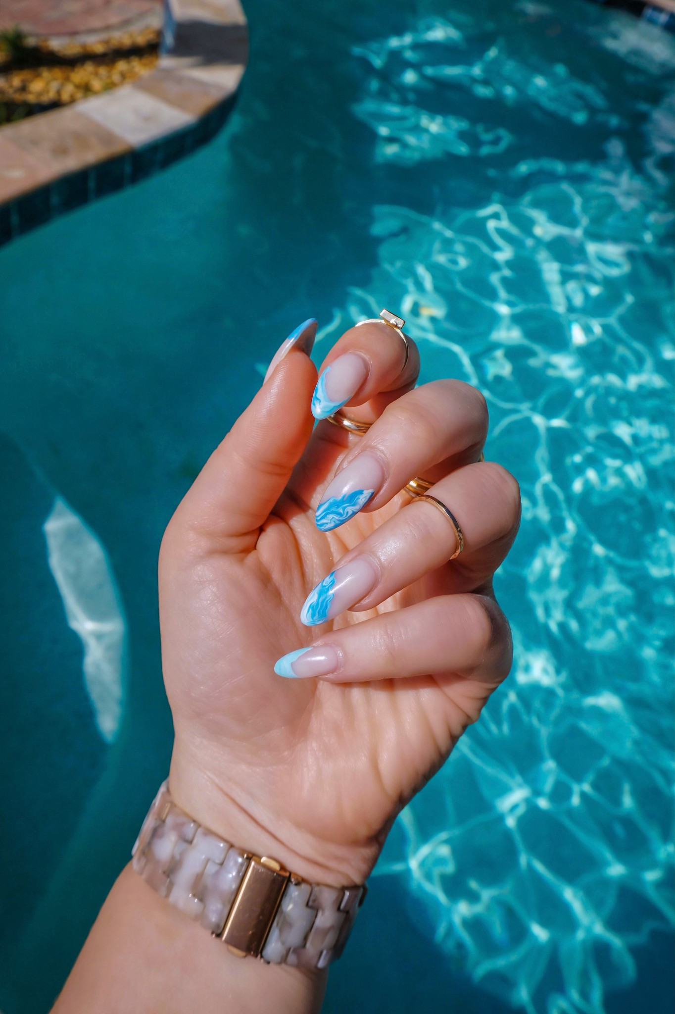 Manicure of the Month: Blue Marble Nails | Summer Nails | Vacation Nails | Manicure Ideas | 2021 Nail Ideas | Nail Art | Almond Nails | Acrylic Nails