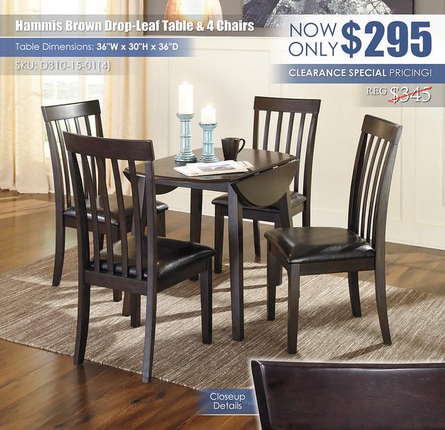 Hammis Brown Drop Leaf Table & 4 Chairs_D310-15-01(4)-LF-DOWN