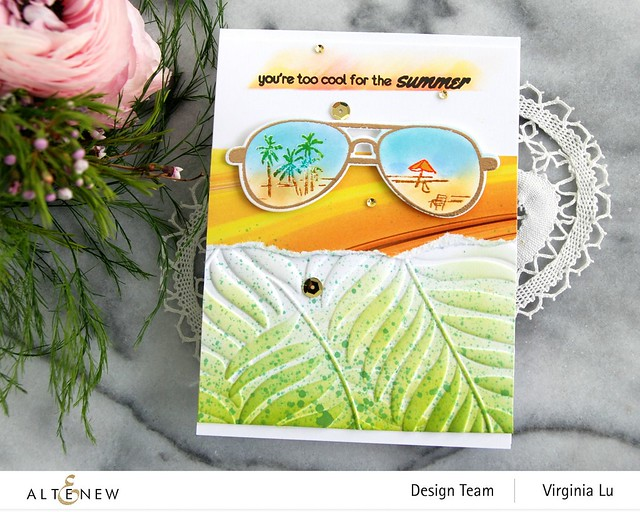 Altenew-Spectacular Adventure Stamp & Die Bundle-Poured Acrylic Paper Pad-Areca Palm 3D Embossing Folder-002