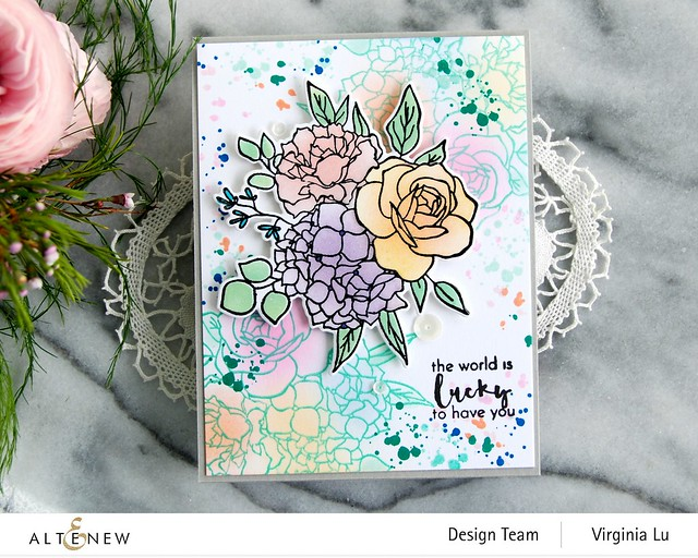 Altenew-Inky Bouquet Stamp Set-Inky Bouquet Die-Inky Bouquet Simple Coloring Stencil-004