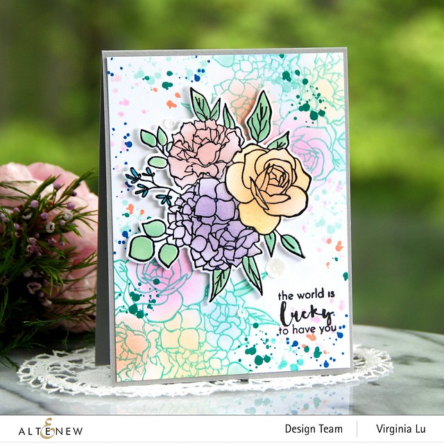 Altenew-Inky Bouquet Stamp Set-Inky Bouquet Die-Inky Bouquet Simple Coloring Stencil