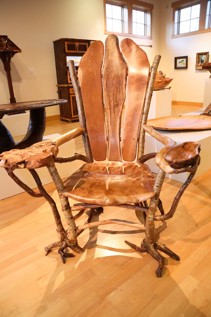 """""""Beer & Nuts Chair,"""" Barry Gregson, rooty yellow birch frame, cherry burl center back & bowl, maple burl artmrest, apple, 40""""x52""""x36"""", $18,000, RS-2"""