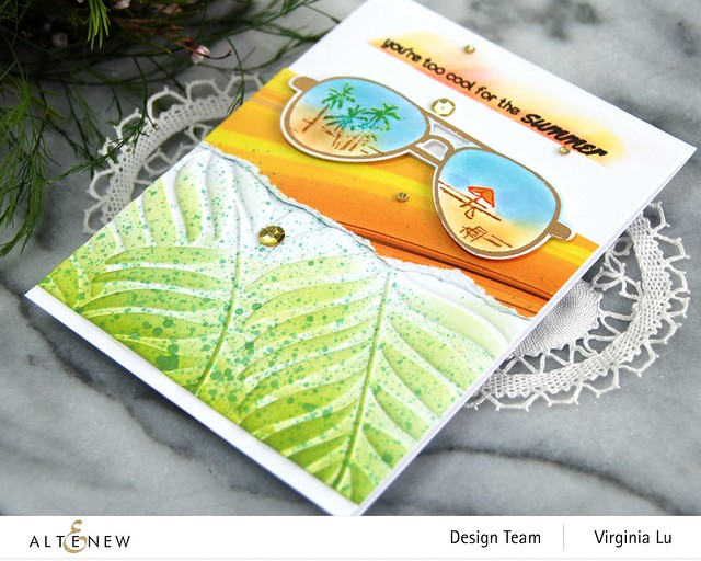 Altenew-Spectacular Adventure Stamp & Die Bundle-Poured Acrylic Paper Pad-Areca Palm 3D Embossing Folder-001