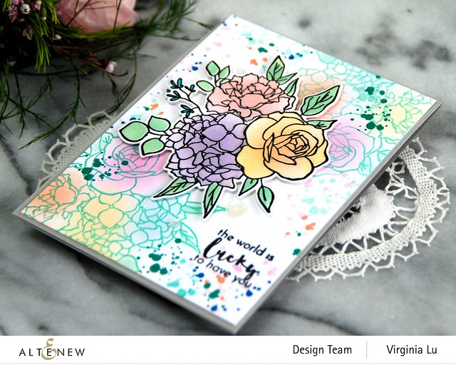 Altenew-Inky Bouquet Stamp Set-Inky Bouquet Die-Inky Bouquet Simple Coloring Stencil-002