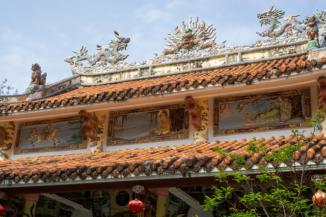 Tam Thai Pagoda with beautiful Ornaments, Buddha Story Paintings and other Buddhist Elements at Marble Mountains in Da Nang, Vietnam