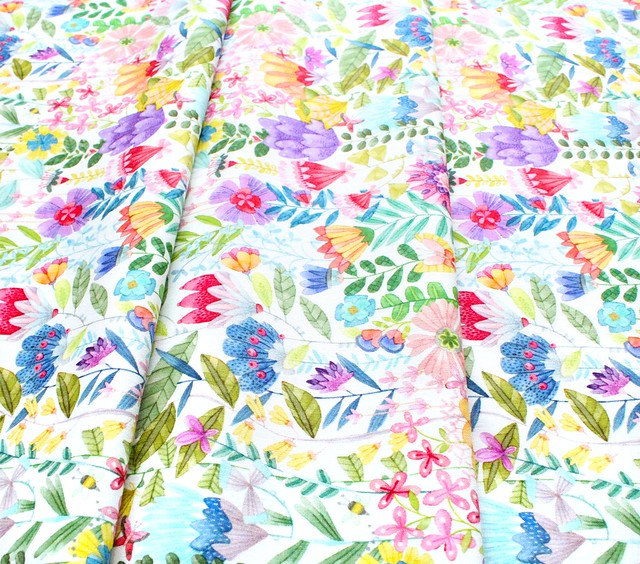 Michael Miller Fabrics Be Kind to Everything That Grows DDC9769-WHIT Fanciful Flowers White