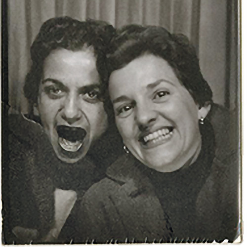 Photobooth self-portrait [square crop] of Jacqueline S. Casey (right) with her former MassArt classmate and MIT colleague Muriel Cooper in Boston, Massachusetts, early 1960s. Muriel R. Cooper Collection, courtesy of Massachusetts College of Art and Design