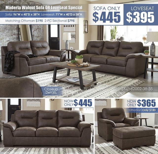 Maderla Walnut Sofa OR Loveseat_62002-38-35-T282