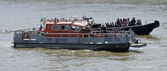 Standing by; LFB Fire Dart & Police dingy