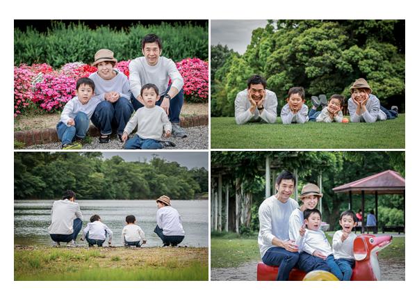 愛知県尾張旭市の森林公園で家族写真