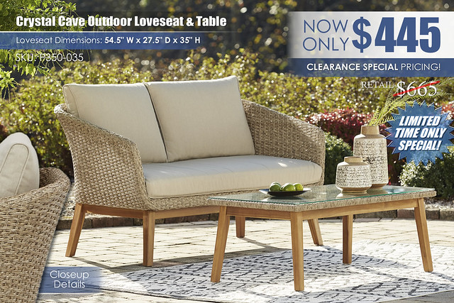 Crystal Cave Outdoor Loveseat and Table_P350-035